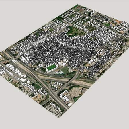 מודל סקצ'אפ של שכונת התקוה בתל אביב 2