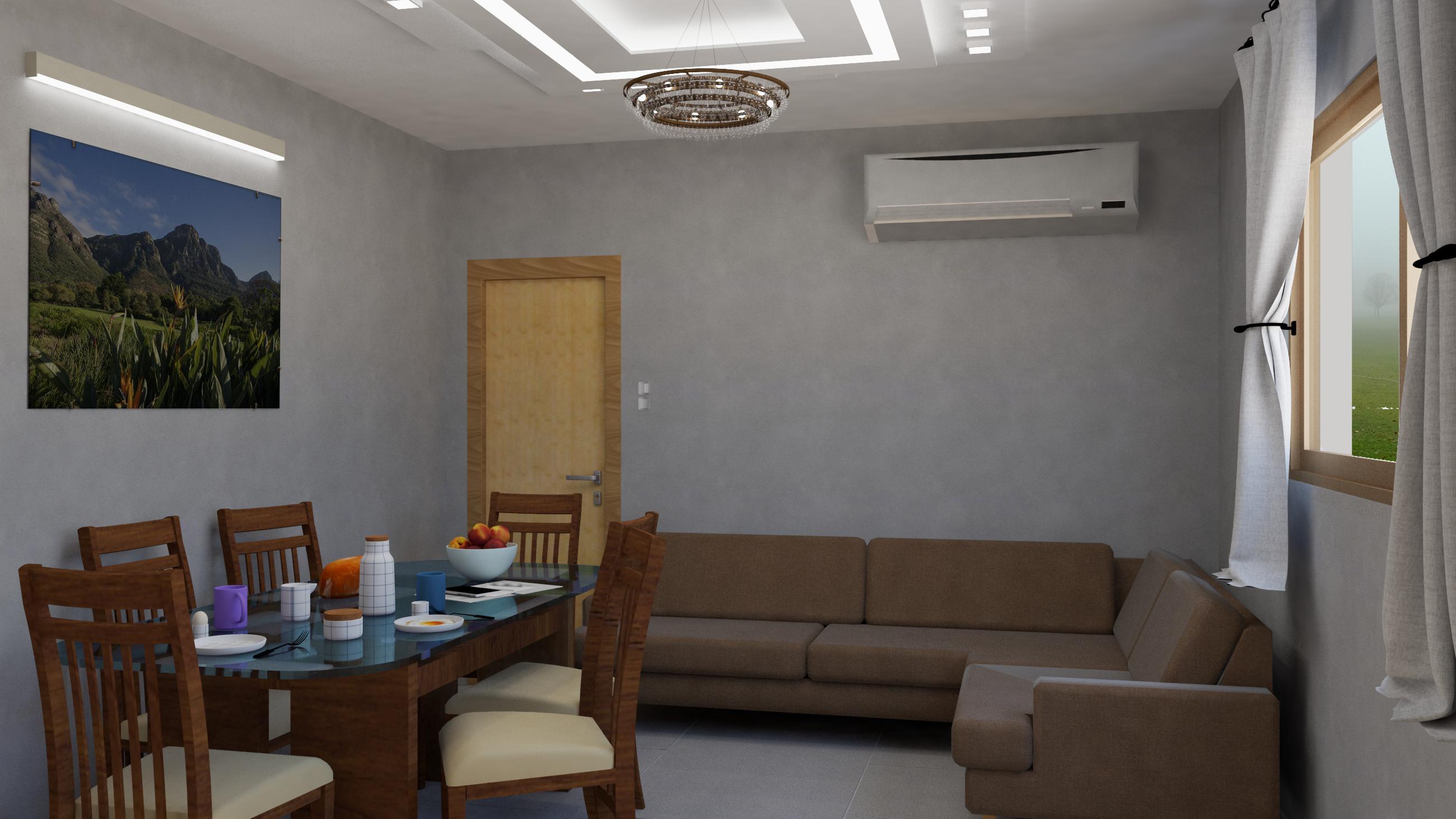 הדמיית סלון ליחידת דיור זעירה 1