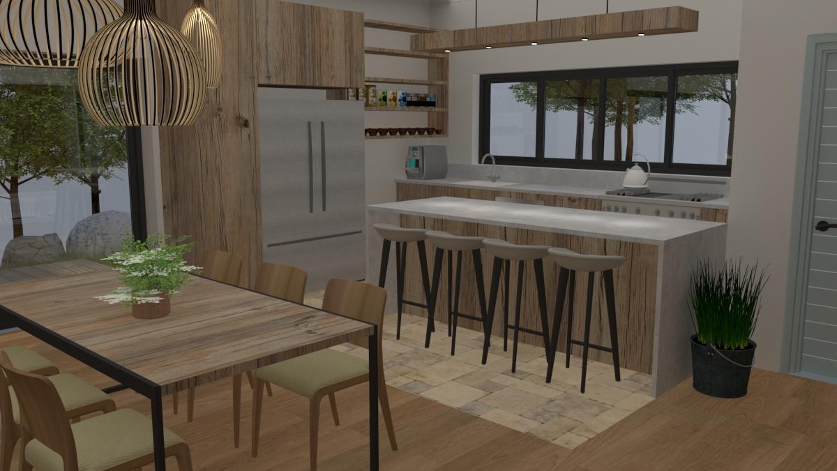 הדמיית מטבח – בית כפרי 2