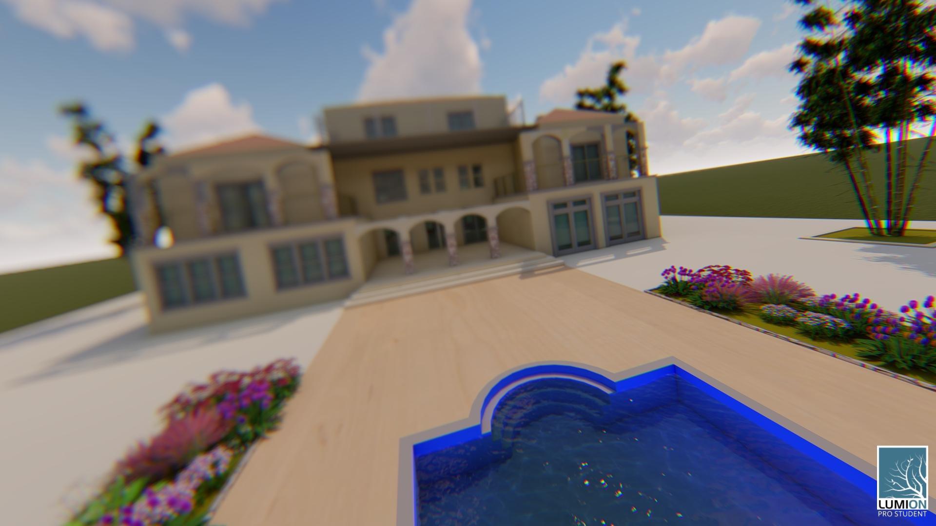 הי. תכנון שלי + לומיון. הבריכה שתכננתי בסקצ'אפ לא נראית בלומיון וקיבלה דשא. 2